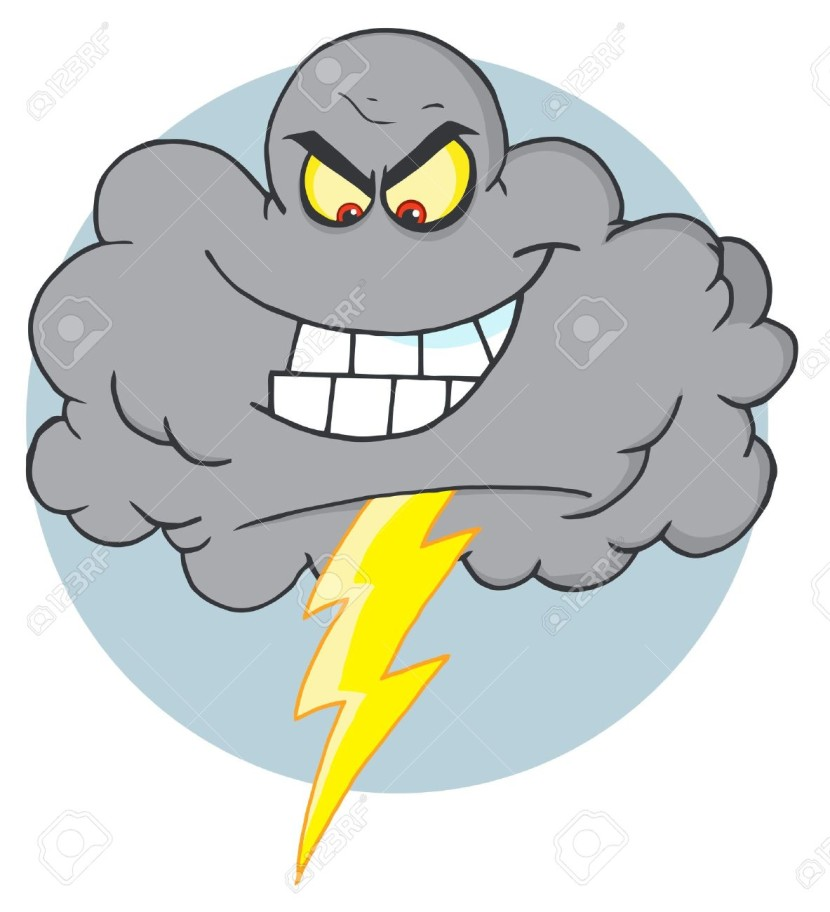 Evil Storm Cloud With Thunderbolt Free Cliparts Vectors