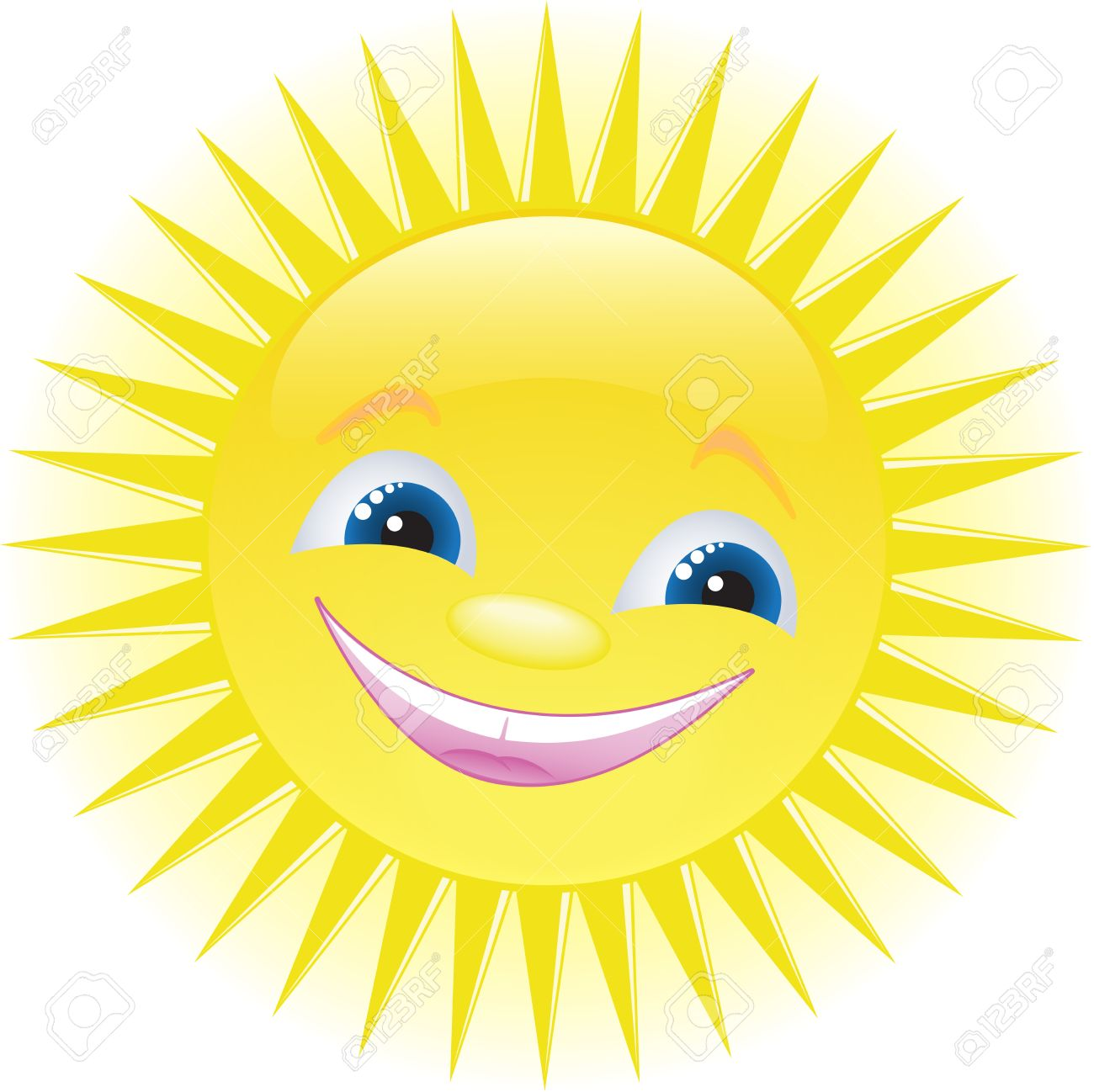 Smiling sun images - Funny Smiling Sun With Blue Eyes Free Cliparts Vectors
