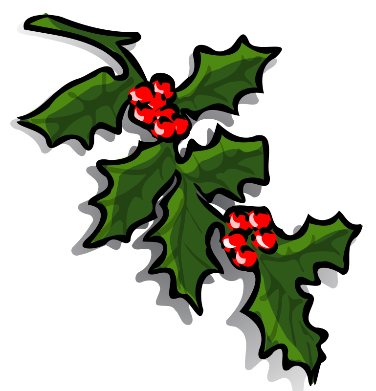 Graphics Of Christmas Wreaths And Holly Sprigs