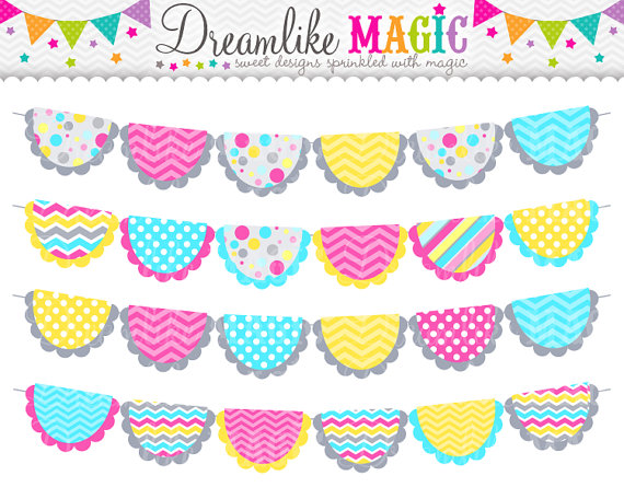 Grey Pink Blue And Yellow Confetti Buntings Clipart For Personal