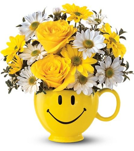 Happy Face Mug Bouquet Arrangeda Florist In St John\'s