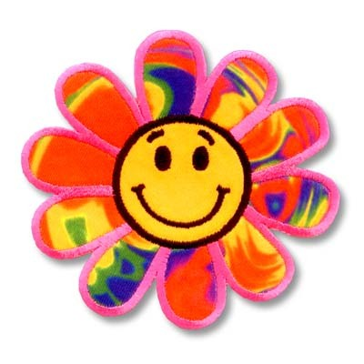 Happy Face Rainbow Daisy Embroidered Flower Patch Applique