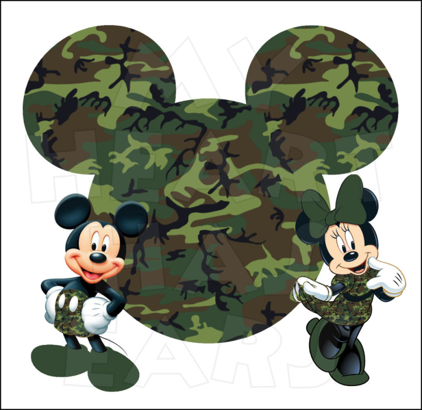 Mickey And Minnie Camo With Mickey Mouse Head Instant Download