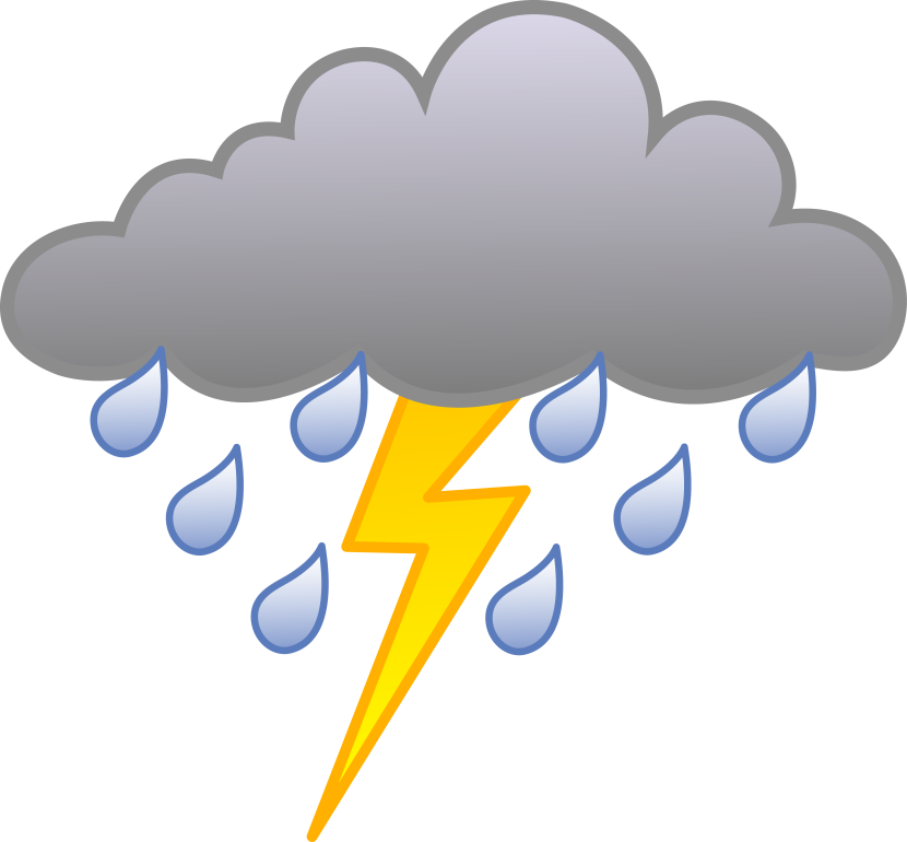 Rain Cloud With Lightning Bolt Free Clip Art