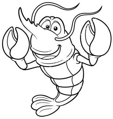 Shrimp Outline Vector Free