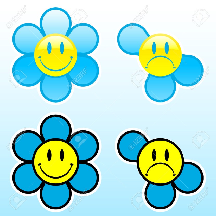 Smiley Flower Happy Unhappy Free Cliparts Vectors And