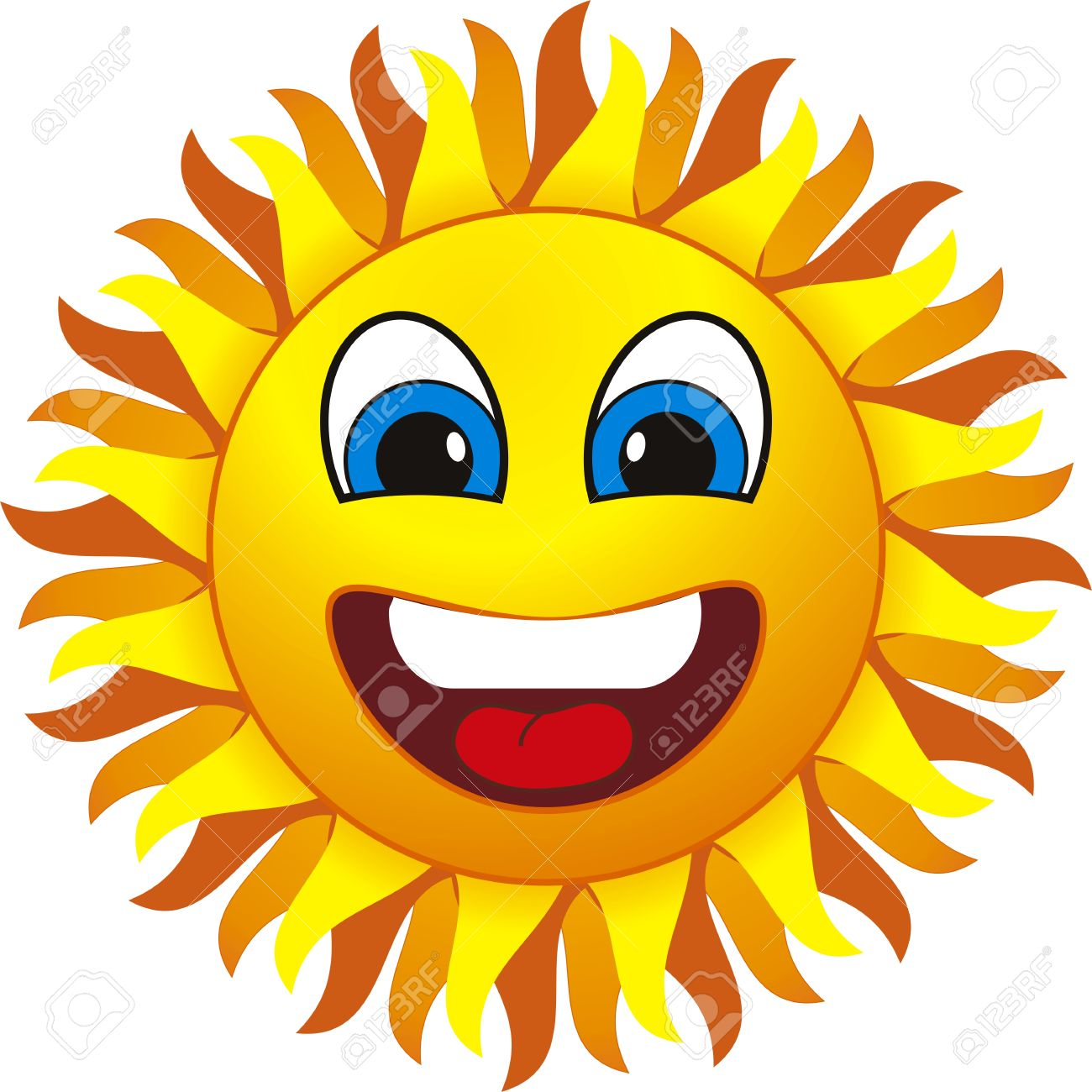 Smiling Sun Isolated On Withe Background Free Cliparts
