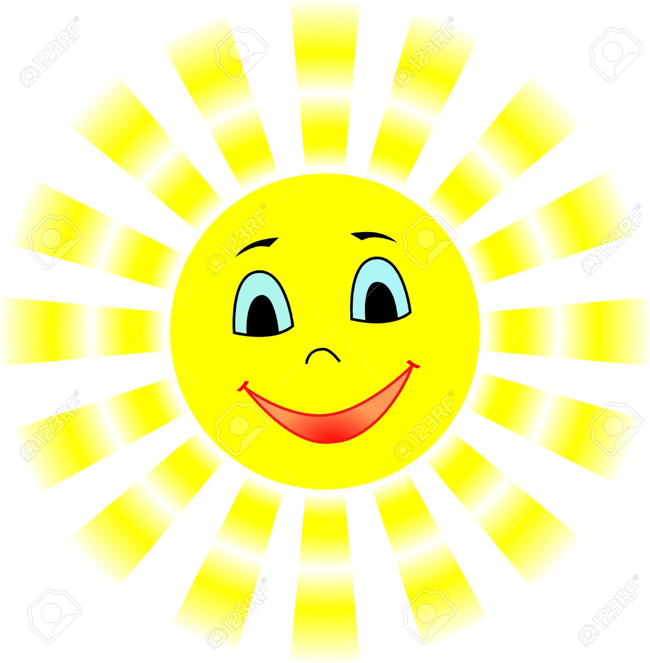 Smiling Sun With Gradient Rays Free Cliparts Vectors And