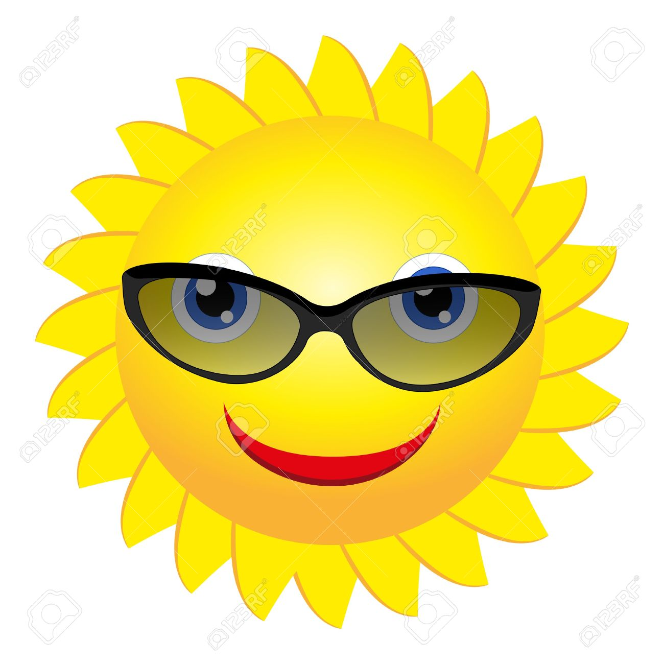 Smiling sun with sunglasses - Smiling Sun With Sunglasses Vector Free Cliparts