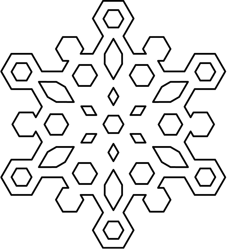Snowflakes Clip Art Black And White Winter Coloring Page