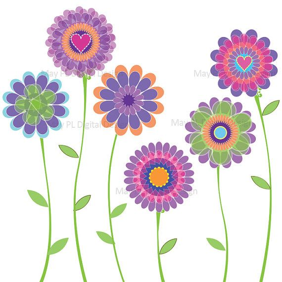 Spring Flowers Clipart Butterfly Floral Vector Clipart Digital: clipartion.com/free-clipart-24114