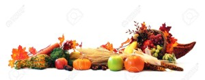 Thanksgiving Cornucopia Filled With Autumn Fruits And Vegetables
