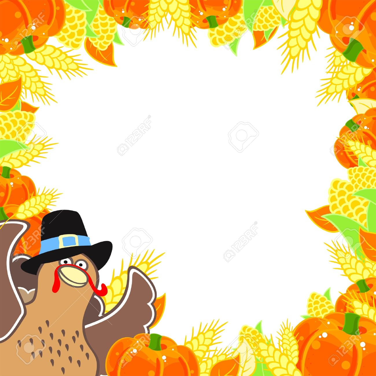 Thanksgiving Frame With A Turkey Free Cliparts Vectors