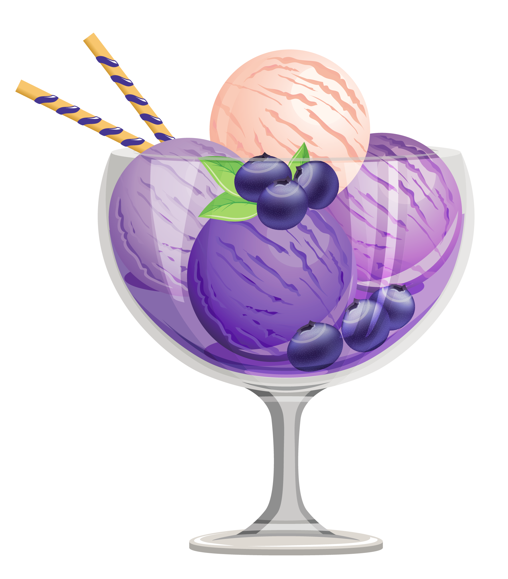 Transparent Blueberry Ice Cream Sundae Clipart Png