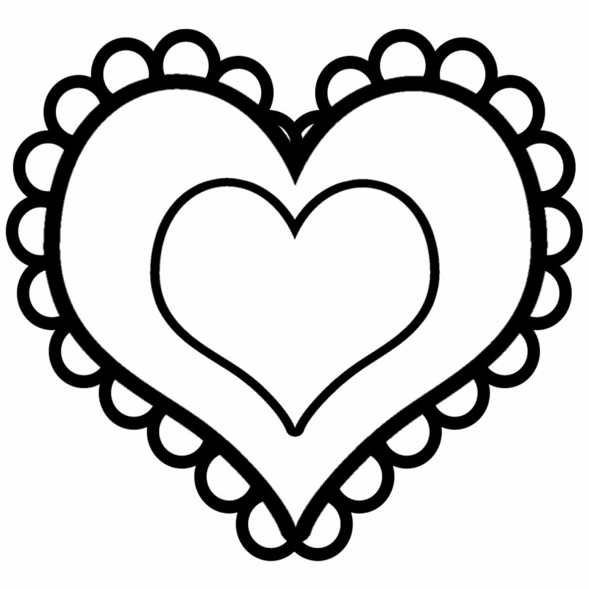 Valentines Coloring Pages Clean Valentine Heart Clip Art Black And