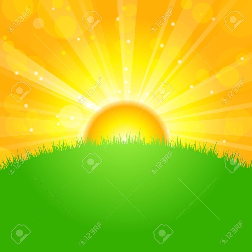 Vector Illustration Sunrise Over Field Free Cliparts