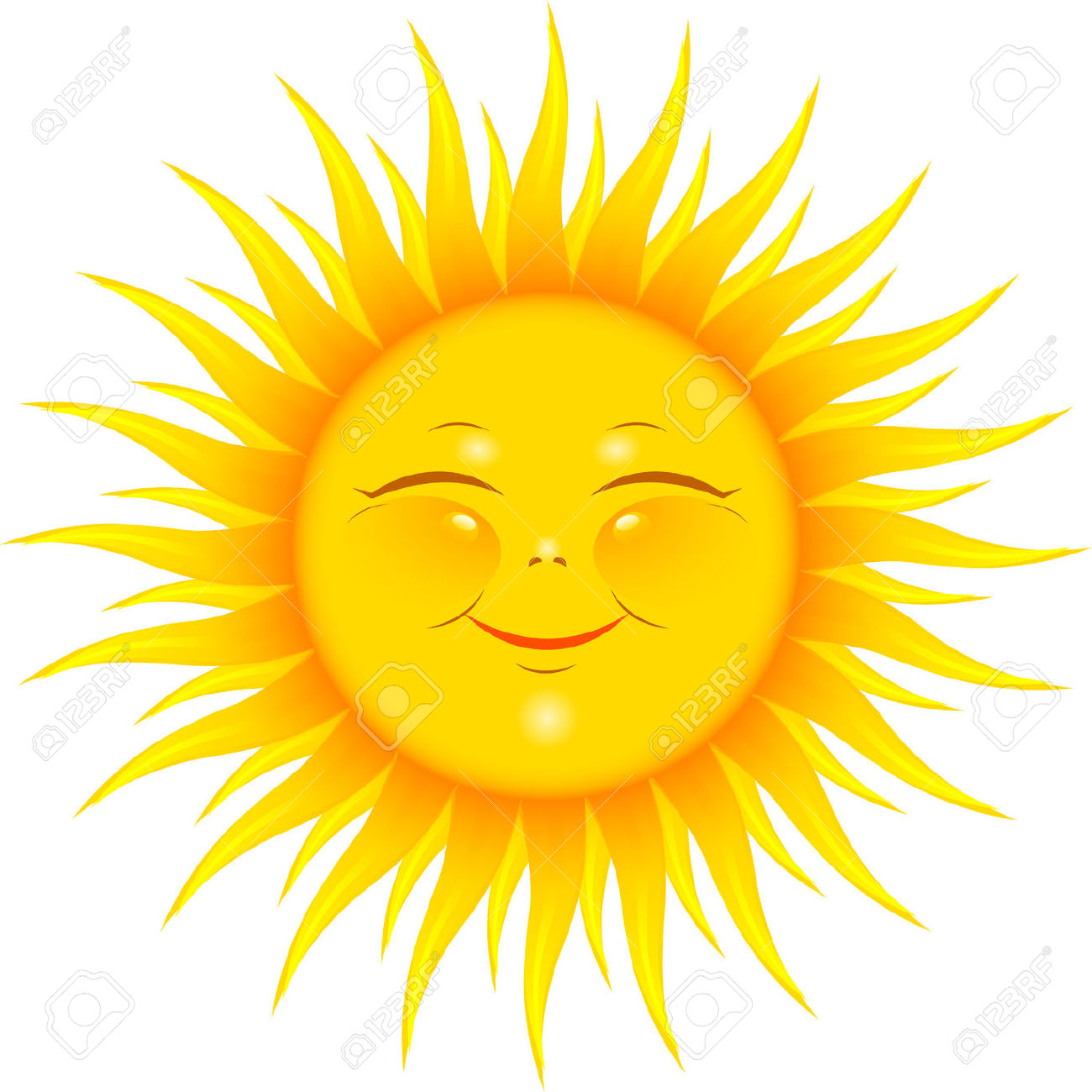 Vector Smiling Sun Over White Free Cliparts Vectors And