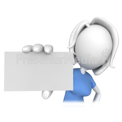 Woman Holding A Business Card Signs And Symbols Great Clipart