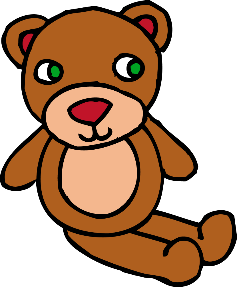 Cute Brown Teddy Bear Toy Free Clip Art
