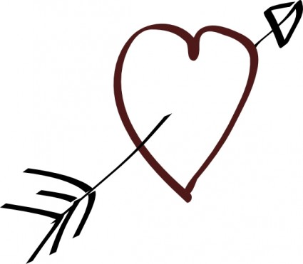 Valentine Heart Arrow Clip Art Free Vector In Open Office Drawing