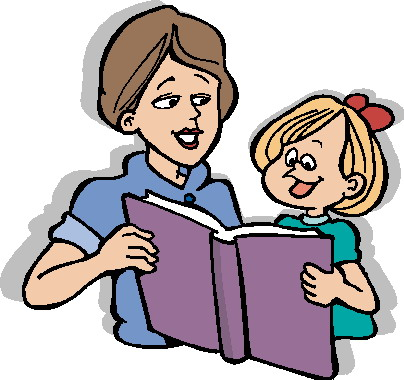 Reading Teacher and Students Clipart