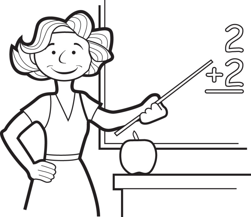Best Teacher Clipart Black and White #24807 - Clipartion.com