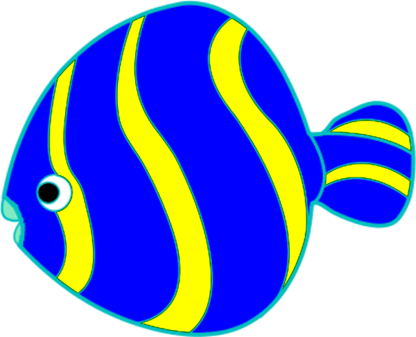 Yellow And Blue Fish Vector Clip Art