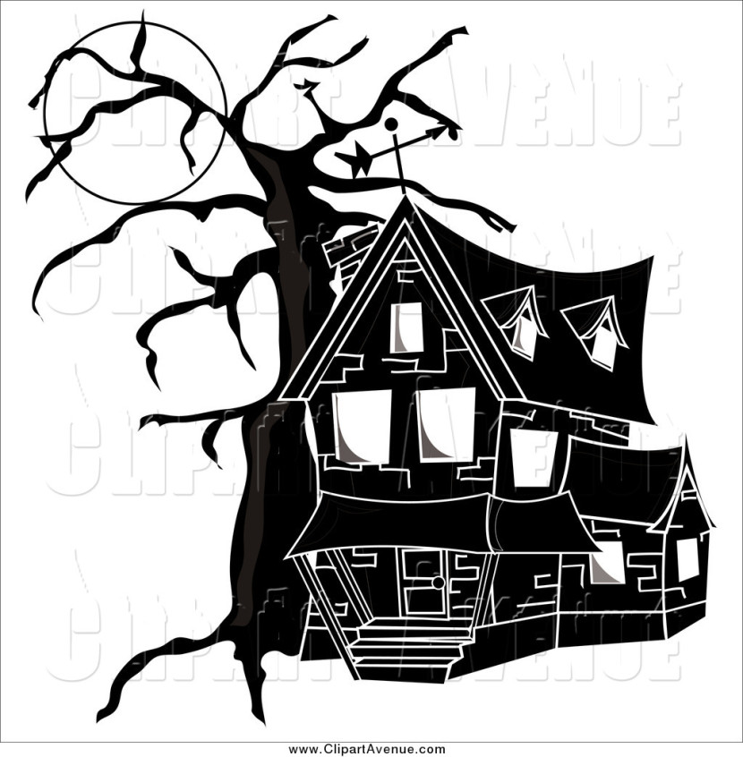 Avenue Clipart Of A Black And White Haunted Housepams Clipart