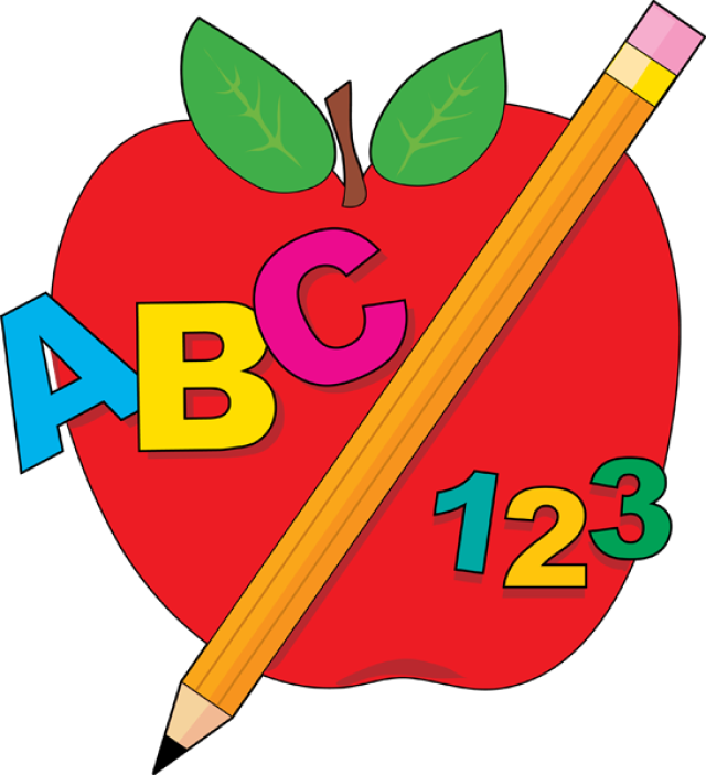 Back To School Abc Apple And Pencil Cliparts