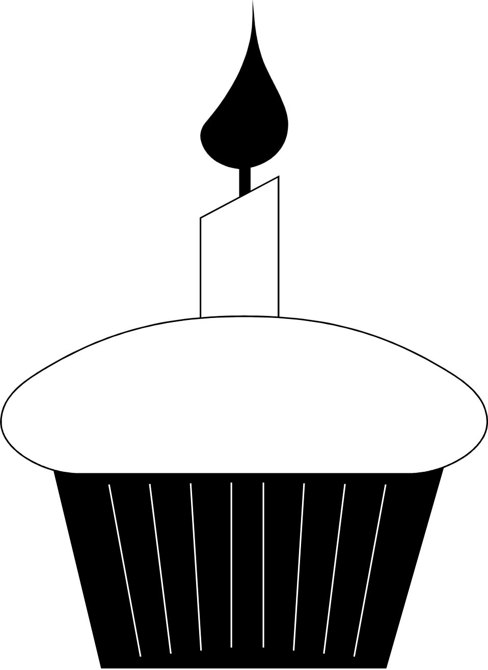 Birthday Candle Clipart Black And White Free