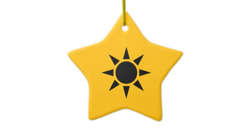 Black And Gold Sun Double Sided Star Ceramic Christmas