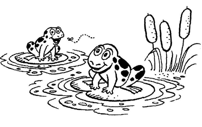 Black And White Cartoon Images Of Frogs On Lily Pads