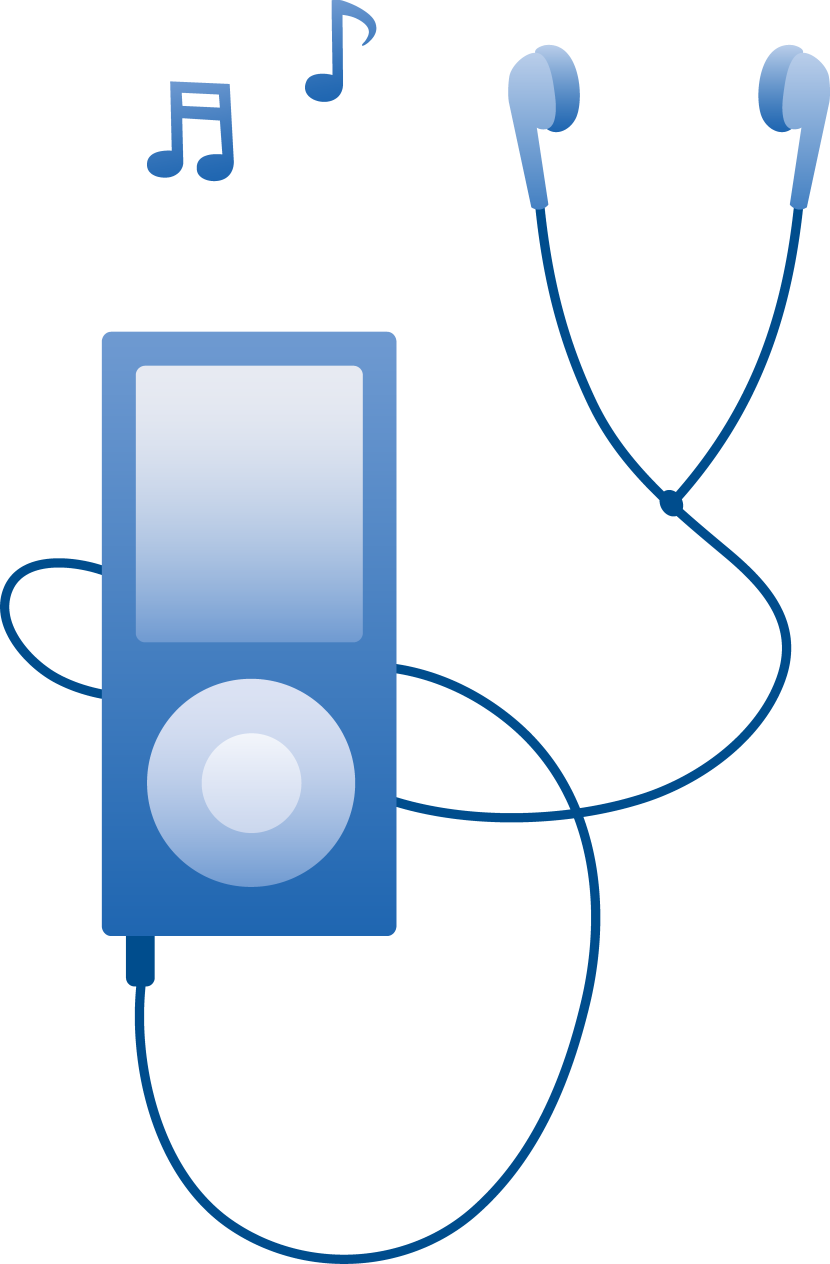 Blue Mp3 Player Playing Music Free