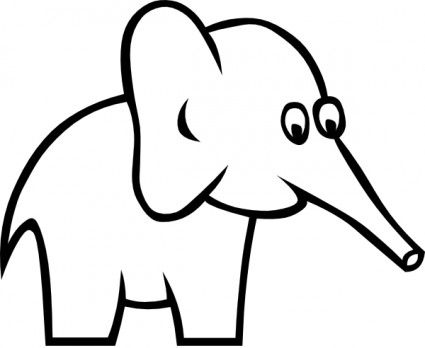Cartoon Outline Elephant Healthy Life