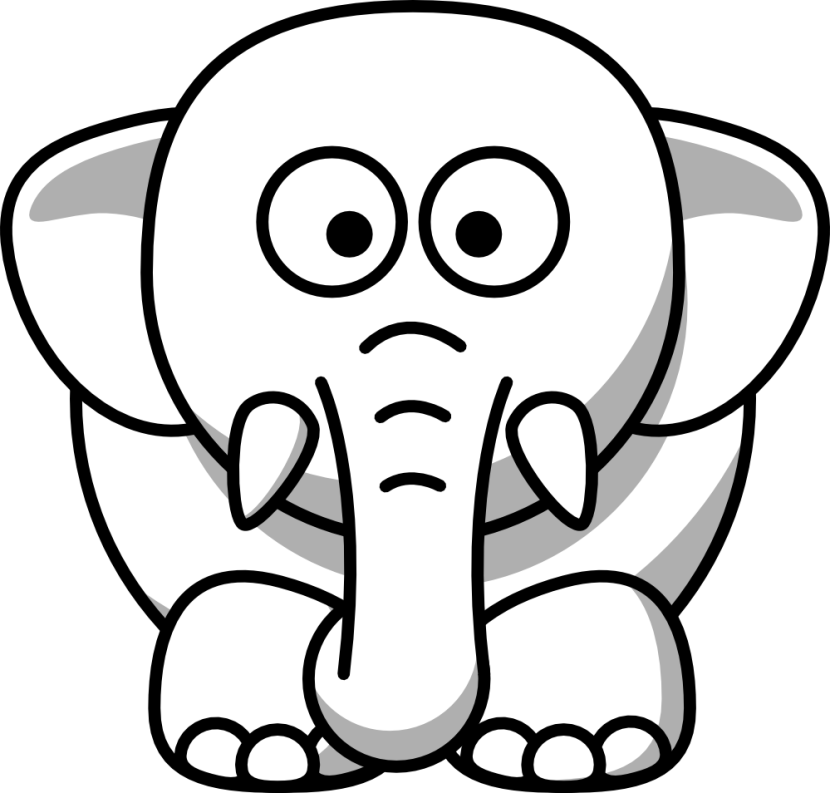 Clip Art Elephant Black White Line Animal