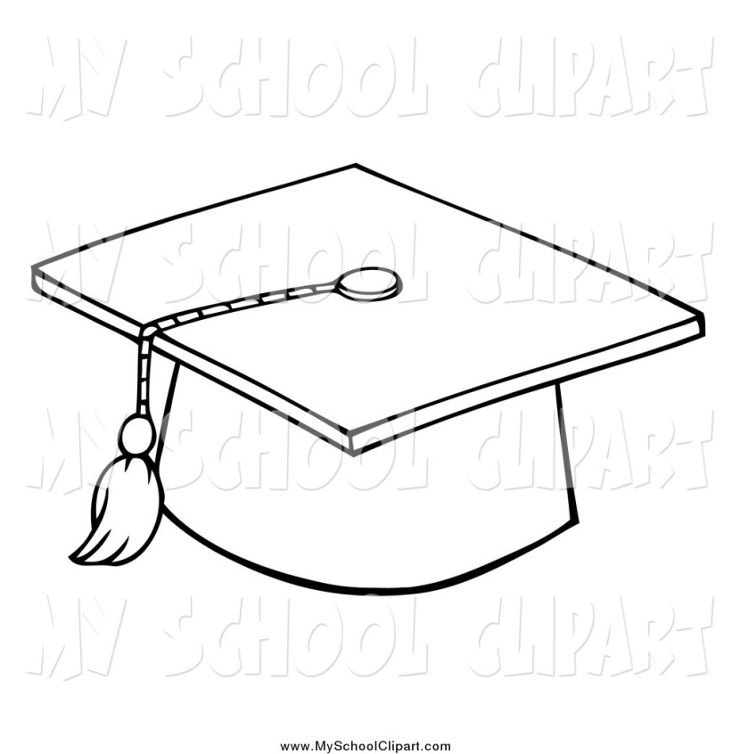 Clip Art Of A Black And White Graduation Cap And Tasselhit