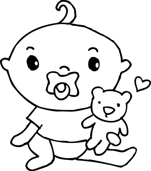 Cute Baby Boy Coloring Page Free