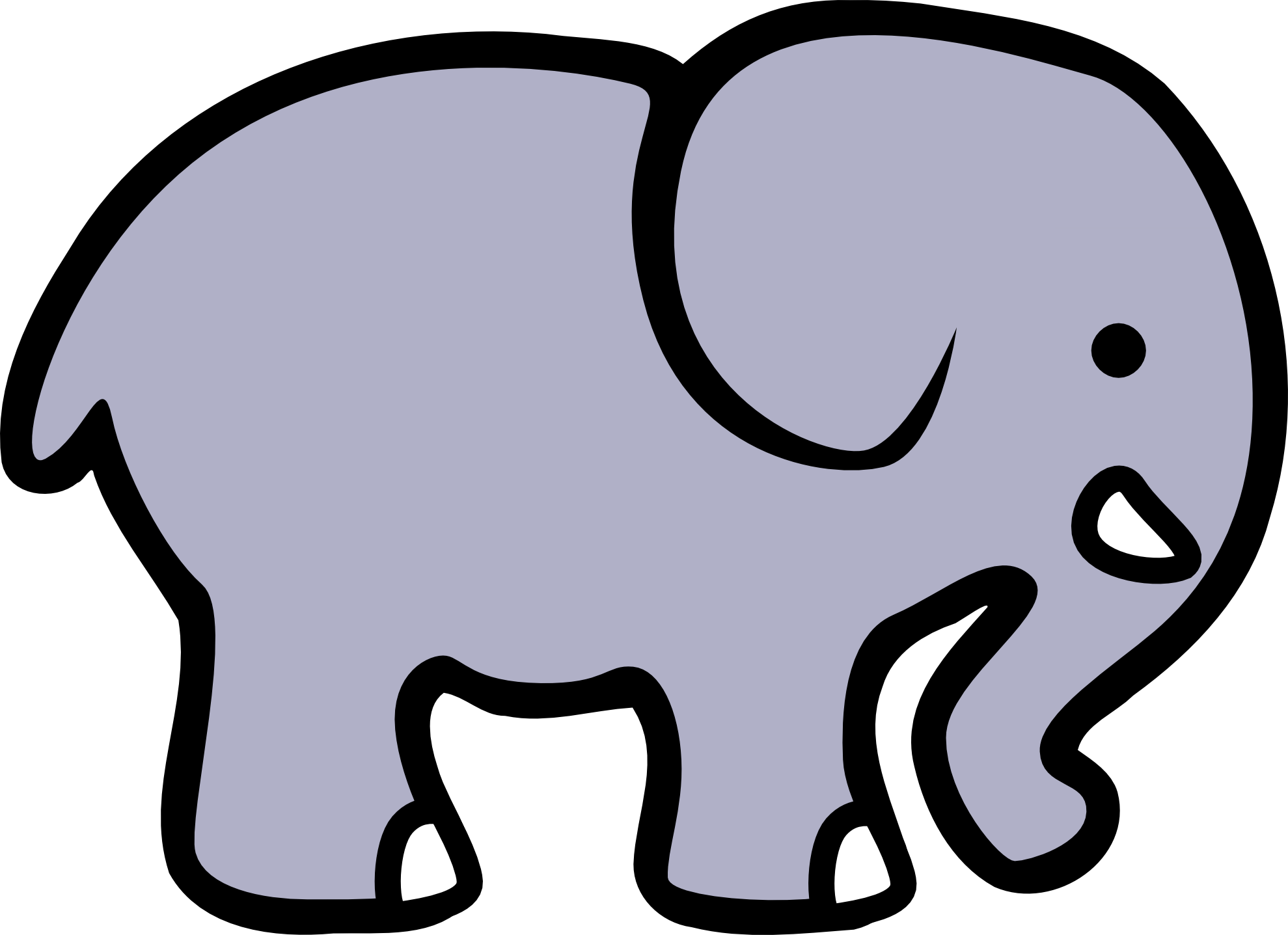 Cute Elephant Clipart Black And White Free