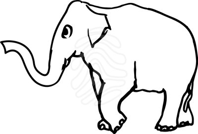 Elephant Clipart For Cartoons Black And White