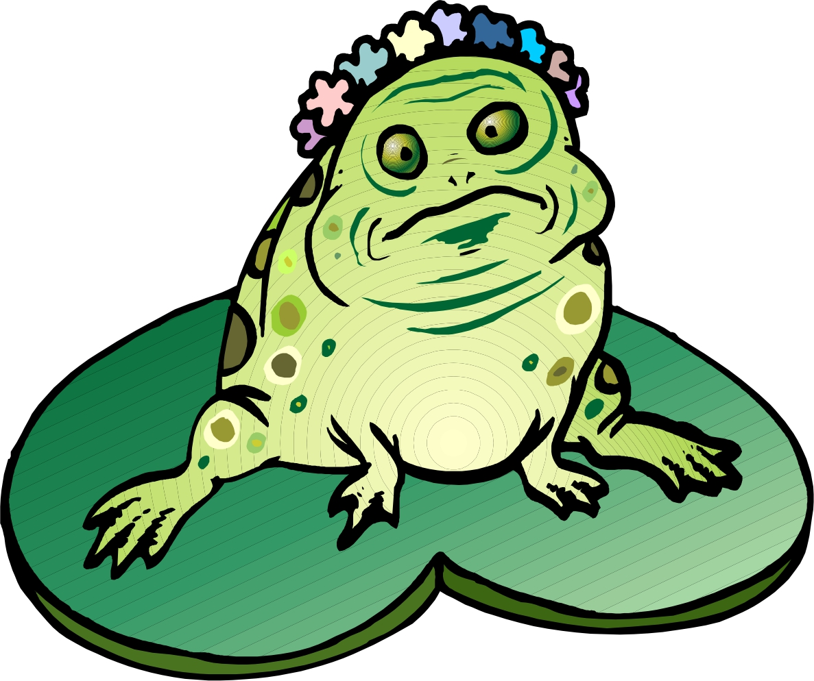 Frog On Lily Pad Cartoon