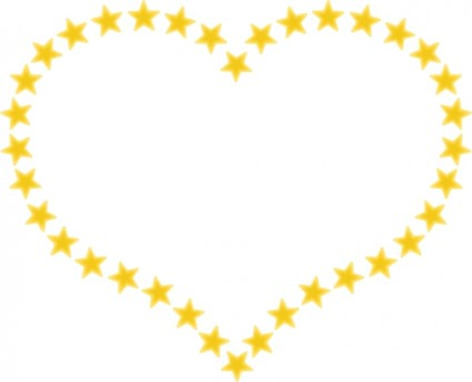 Heart Shaped Border With Yellow Stars Free Vector In Open