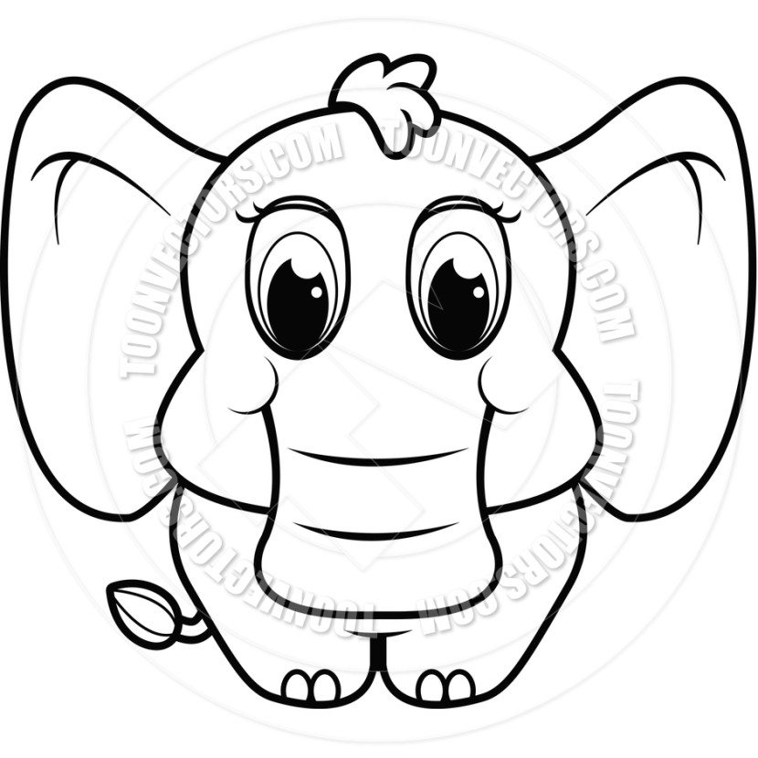 Image Cute Elephant Clipart Black And White