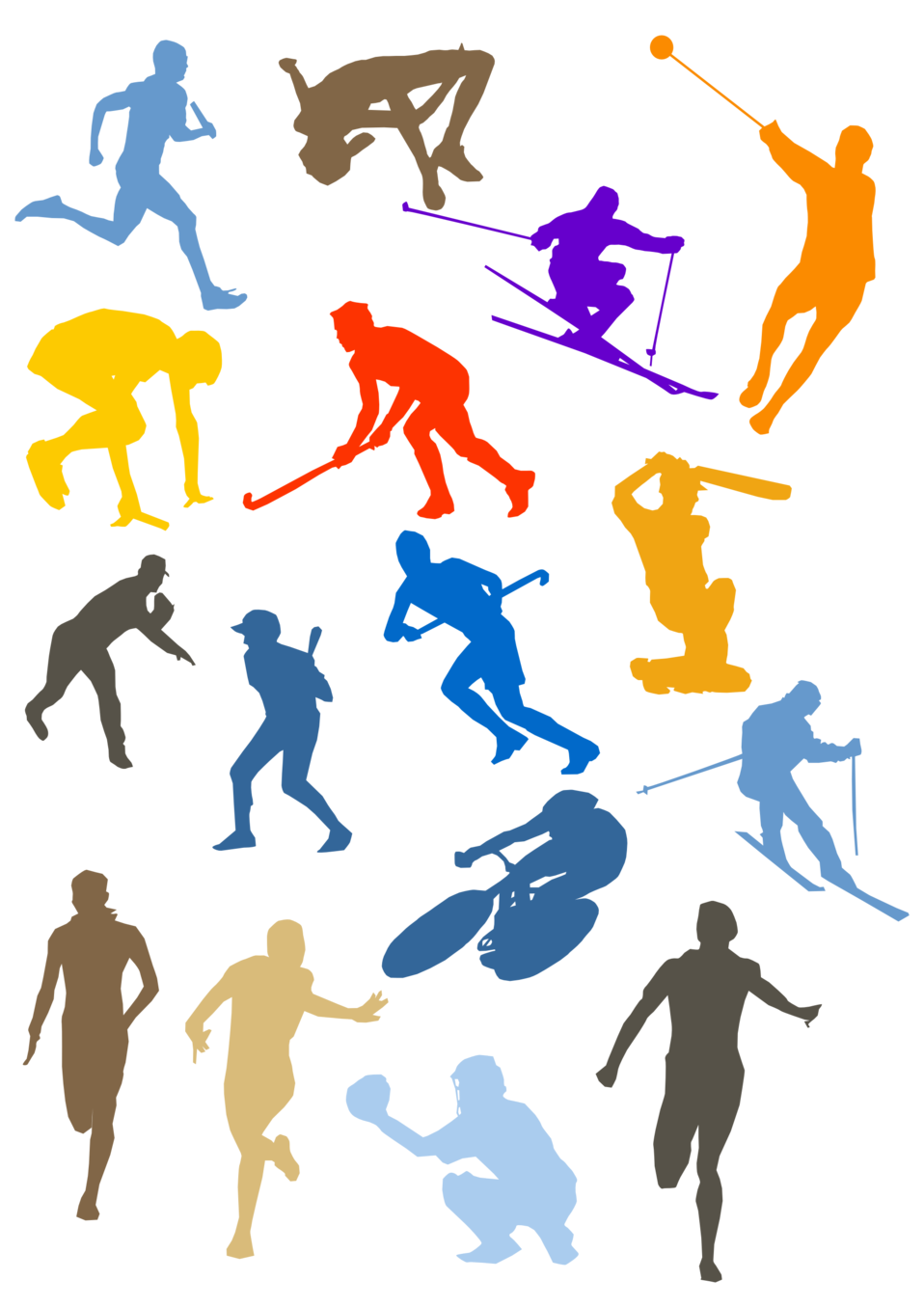 Image Various Colorful Sport Silhouettes