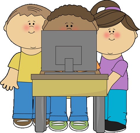 Kids Using A School Computer From Mycutegraphics School Kids