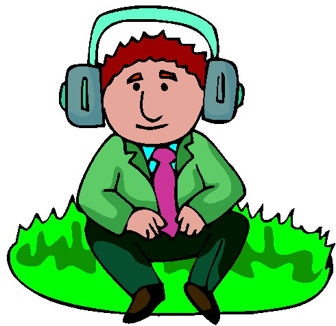 Listening to Music Clipart