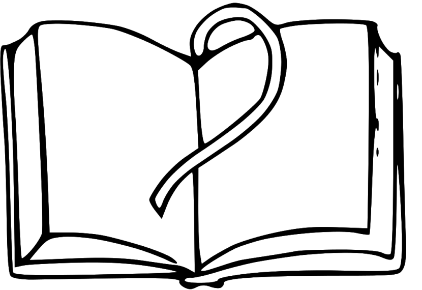 Open Book Black And White Clipart