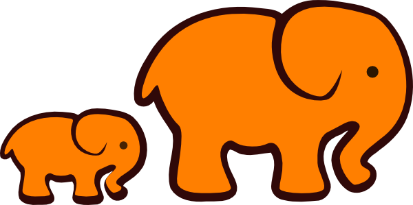 Orange Elephant Mom Baby At Vector