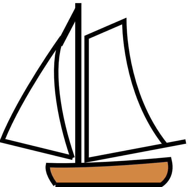Pic Sailing Boat Cartoon Black And White
