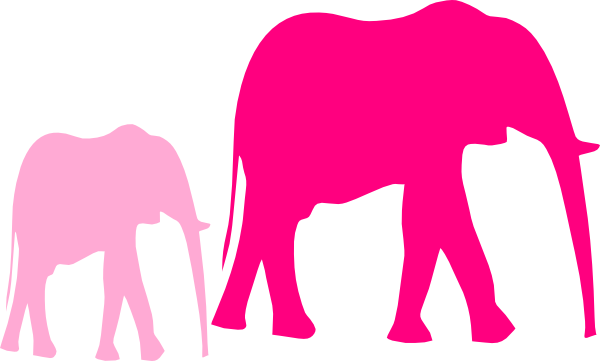 Pink Baby Shower Elephant Mom And Baby Vector