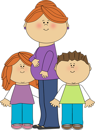 Pregnant Mom With Kids Image